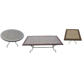 table mosaique basse haute fer achat table marocaine zellige ceramique vente pietement fer. Black Bedroom Furniture Sets. Home Design Ideas