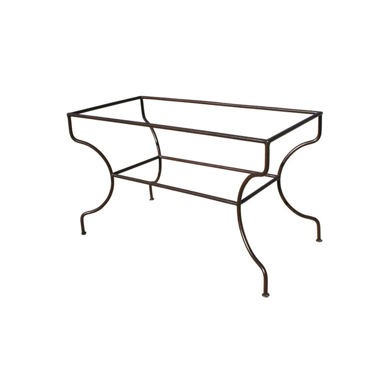 Pied table rectangulaire support simple fer rond plein