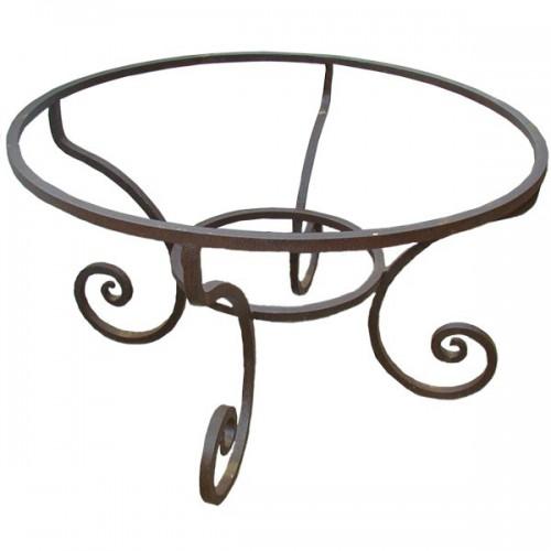 """Pied table fer forgé rond """"Fou du Roi"""" fer carré plein"""