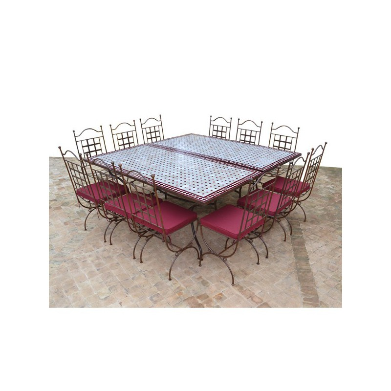 Table en zellige Carrée 180-180 (2 Table rect. 180-90) + 12 Chaises Provence + 12 coussins