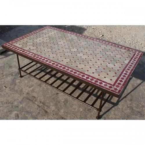 Table basse en zellige 100/60 rectangulaire étagère