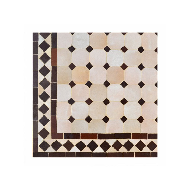 "Motif ""koura"" Chocolat sur fond beige, table carrée en 200/200 zelllige marocain artisanal"