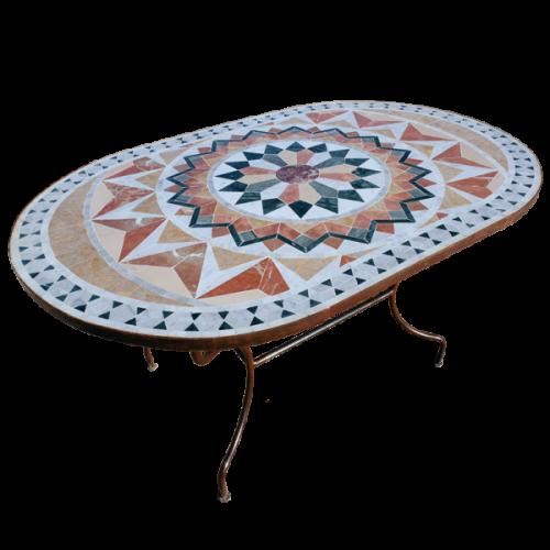 Table mosaique marbre ovale 180/90 sur pied fer forgé