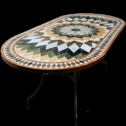 Table mosaique marbre ovale 140/90 sur pied fer forgé