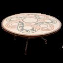 Table marbre ronde d.:150 sur pied fer forgé