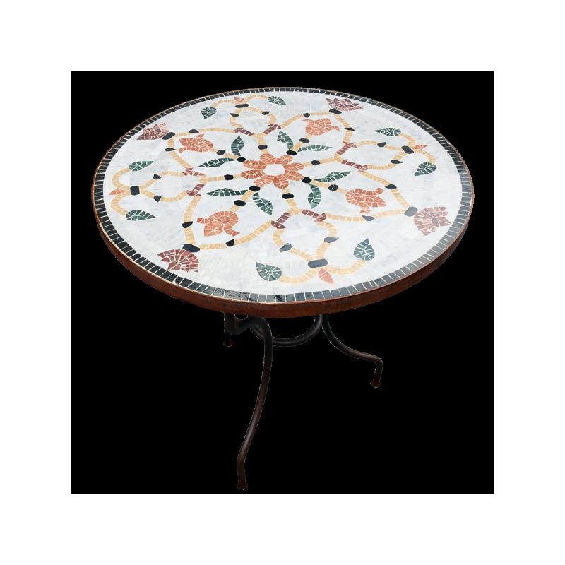 table mosaique de marbre ronde 110 sur pied fer forg. Black Bedroom Furniture Sets. Home Design Ideas