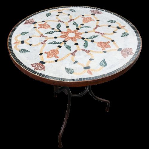 Table marbre ronde d.: 70 sur pied fer forgé
