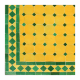 Table en zellige rectangulaire 140/90 vert fond jaune sur pied simple fer plein