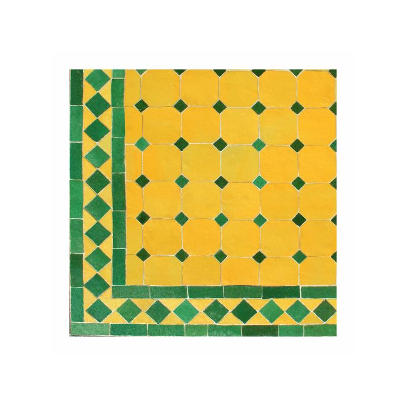 Table basse marocaine en zellige ronde d.: 70 jaune vert