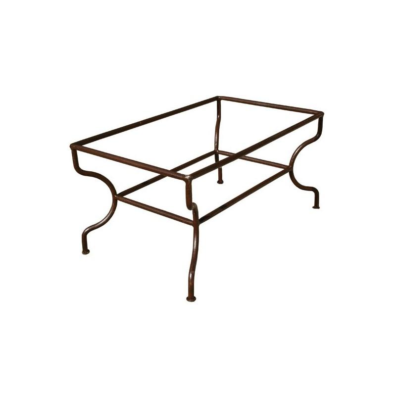 Piétement table basse rectangulaire simple fer forgé plein