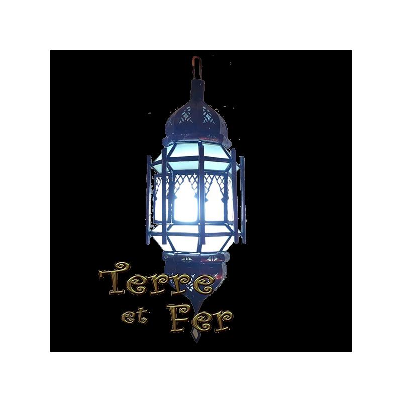 "Lanterne suspension verre fer ""Fès"" fer forgé marocaine"