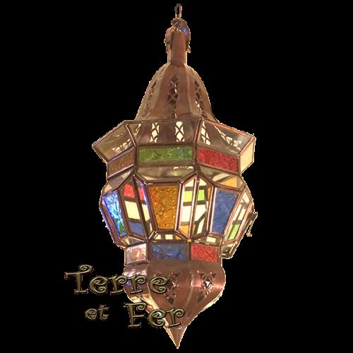 """Lanterne suspension verre """"Pagode"""" fer forgé marocaine"""