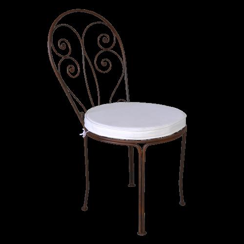 Chaise Romantique fer forgé coussin Blanc