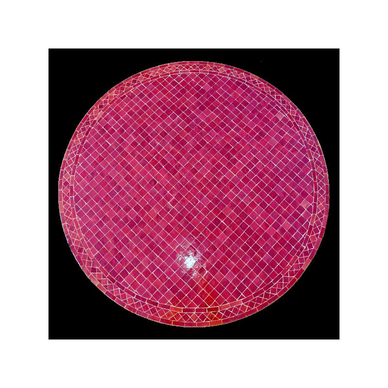 Table en zellige ronde d.: 130 petits carreaux Bordeaux