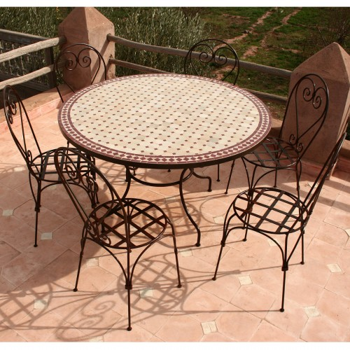 """Table zellige ronde 130 + 6 Chaises """"Italienne"""""""