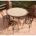 "Table zellige ronde 130 + 6 Chaises ""Italienne"""
