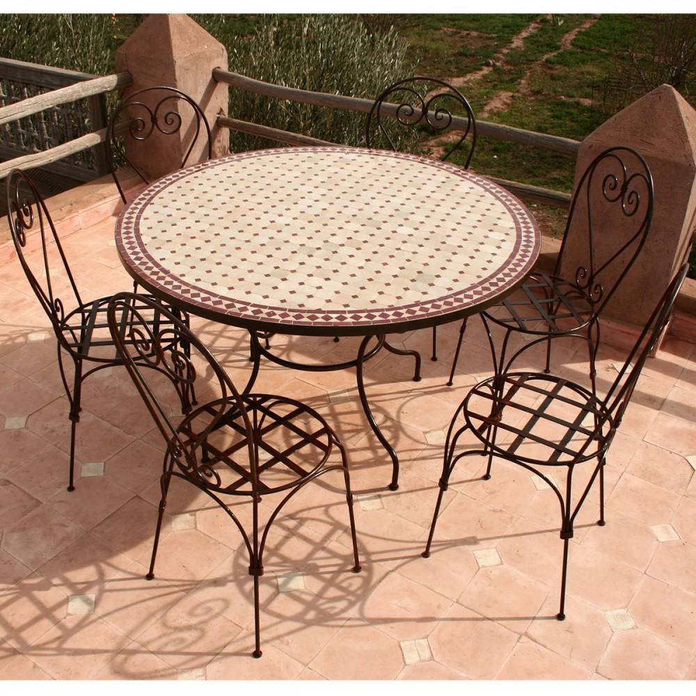 "Table zellige ronde 130 et 6 chaises ""Italienne"""
