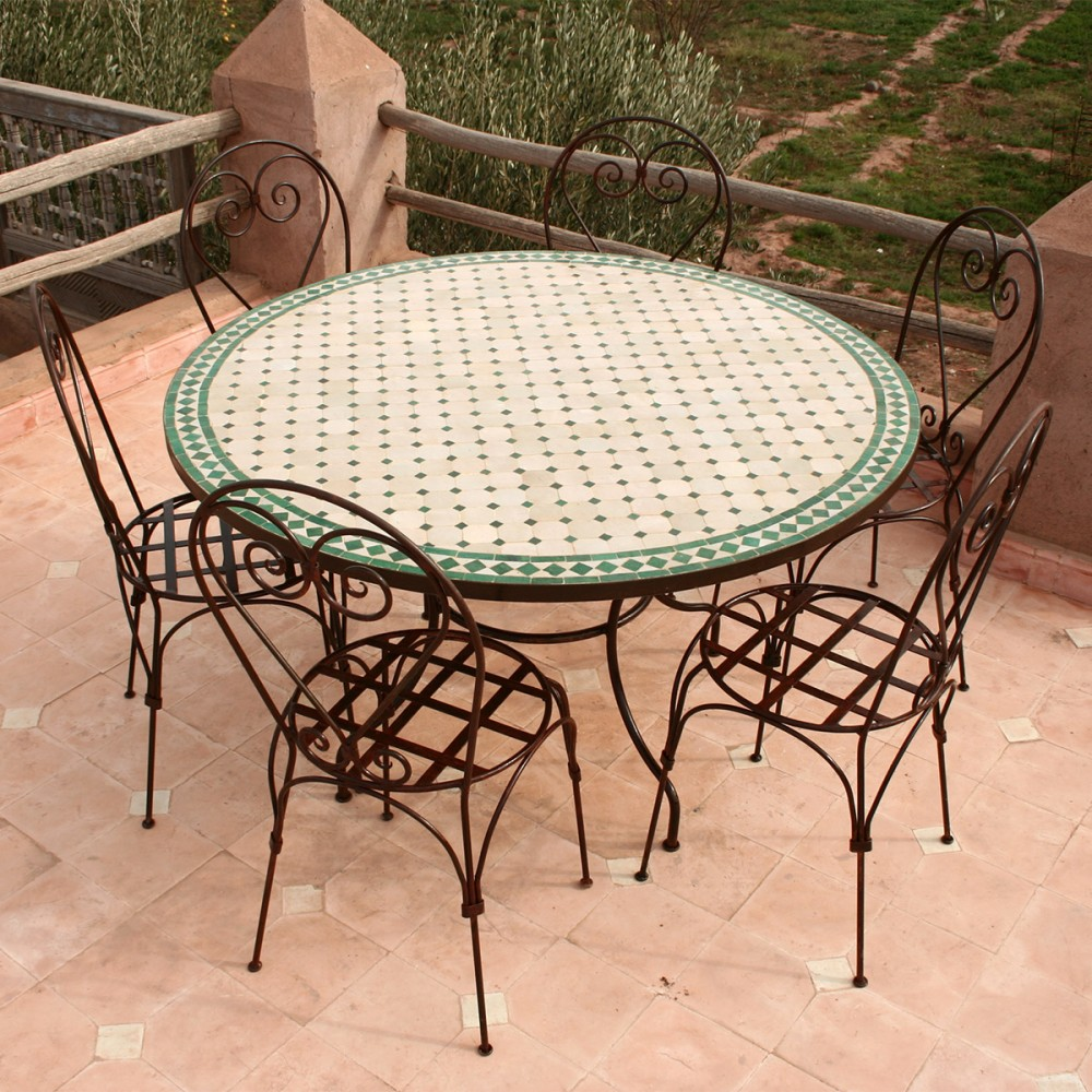 table mosaique marocaine en zellige ronde 130 6 chaises. Black Bedroom Furniture Sets. Home Design Ideas