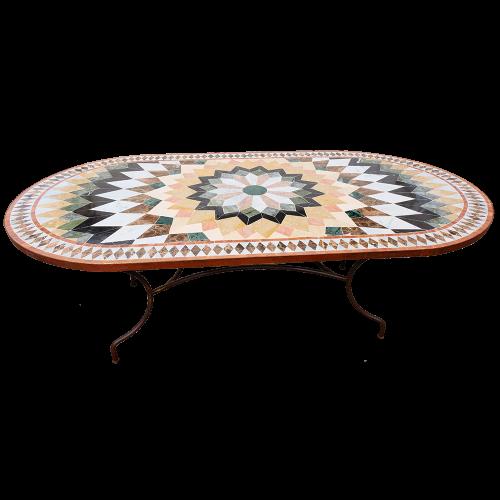 Table mosaique marbre ovale 200/100 sur pied fer forgé