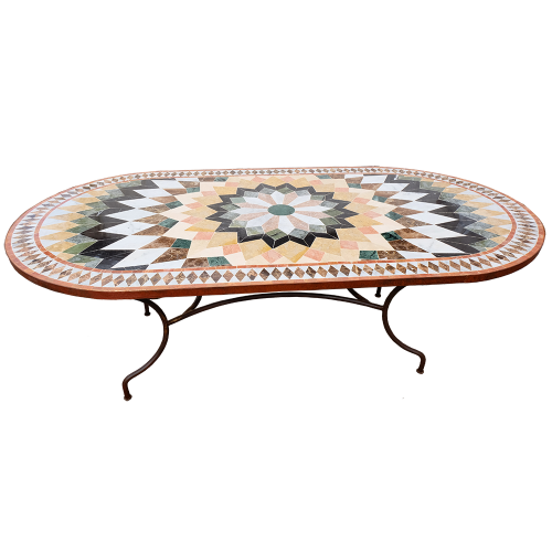 Table mosaique marbre ovale 200/100 Florentine 6