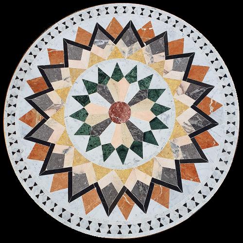 Table marbre ronde d.:110 sur pied fer forgé