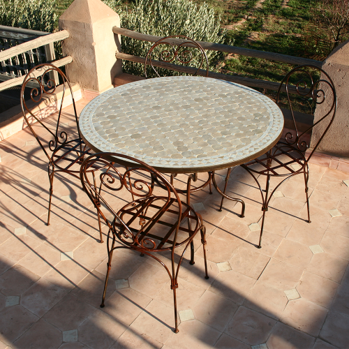 "Table en zellige ronde 110 + 4 Chaises ""Italienne"""