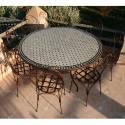 "Table en zellige ronde 150 + 8 Chaises ""Italienne"""