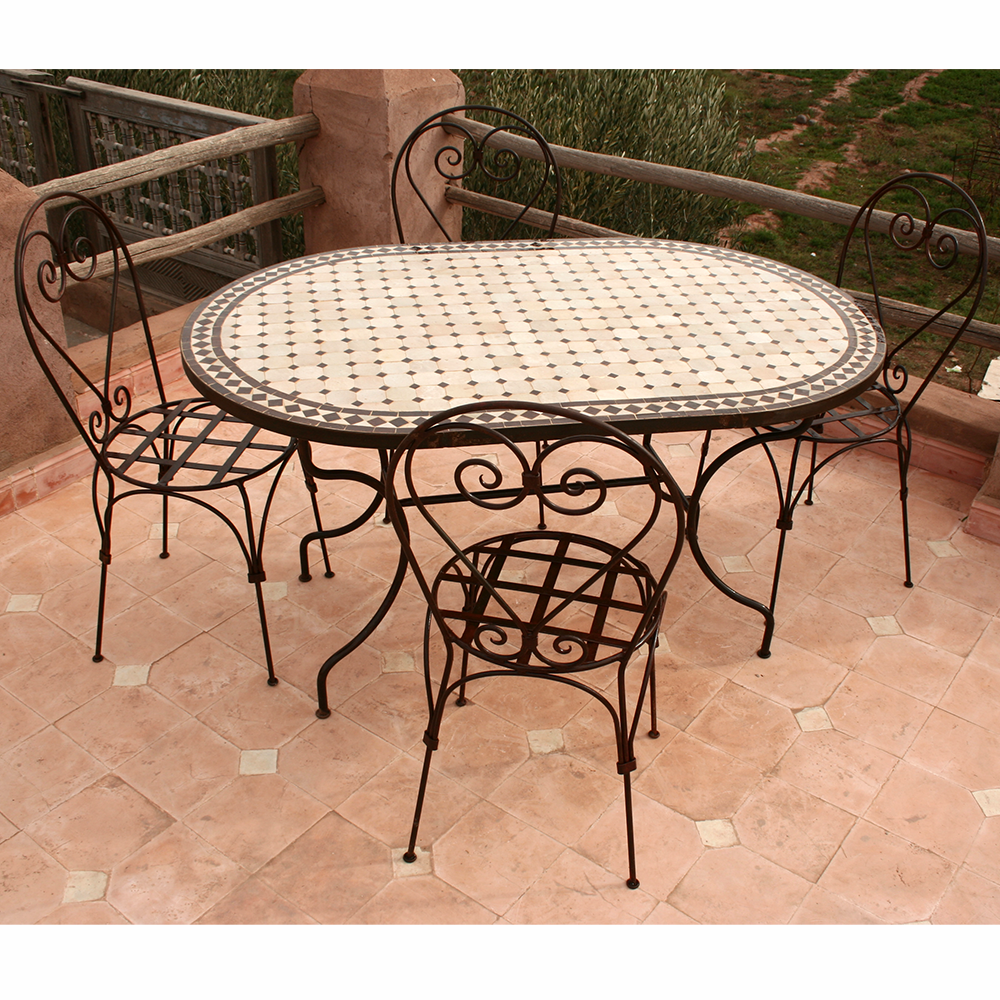 """Table zellige ovale 140-90 et 4 chaises """"Italienne"""""""