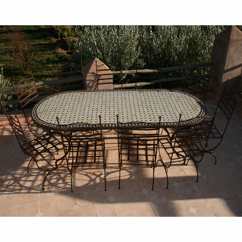Table zellige Ovale 220-100 + 10 Chaises Marina