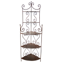 Etagère d'angle en fer forgé 5 niveaux tôlés