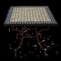 Table en zellige carrée 80/80 sur pied simple fer plein