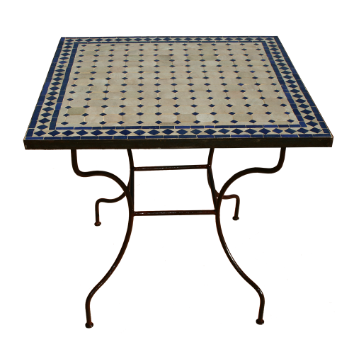 Table en zellige carrée 80/80 sur pied simple fer plein