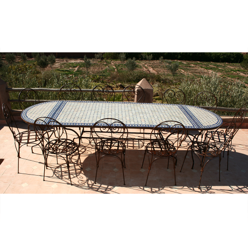 Table en zellige Ov. 300-100 (Table rect. 200-100 + 2 cons.) + 12 Chaises Italiennes