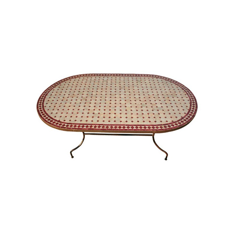 Table en zellige ovale 180/90