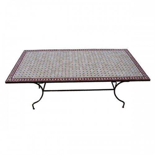Table en zellige rectangulaire 100/60 sur pied simple fer plein