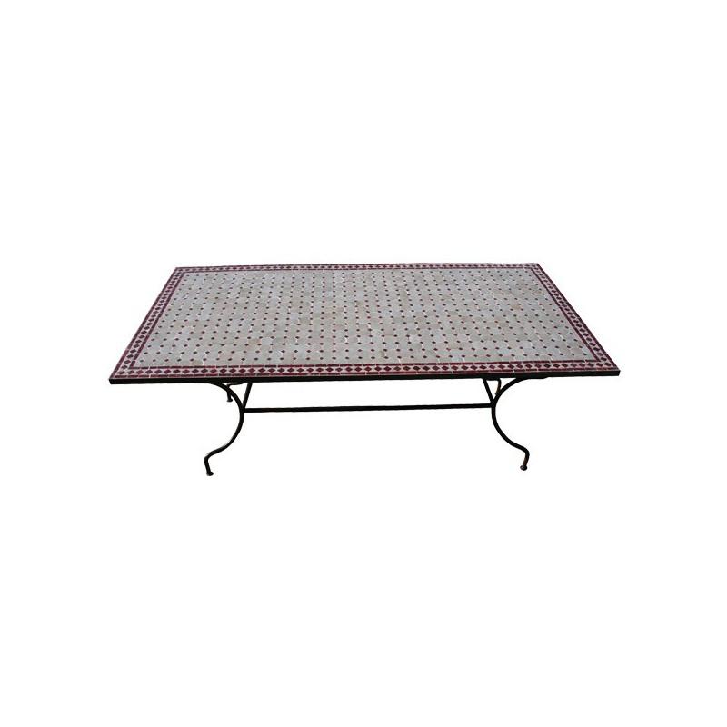 Table en zellige rectangulaire 100/60 pied fer plein bordeau fond beige