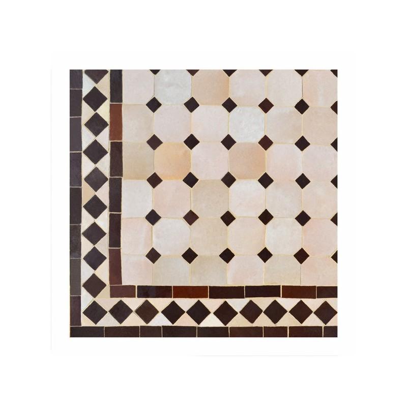 """Motif """"koura"""" Chocolat sur fond beige, guéridon carré zellige 70/70"""