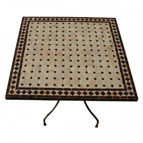 Table en zellige carrée 90/90 sur pied simple fer plein
