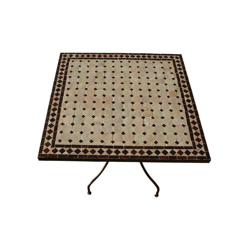 Table en zellige carrée 90/90