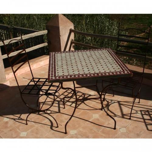 Table zellige carrée 80/80 sur pied simple + 2 Chaises marina