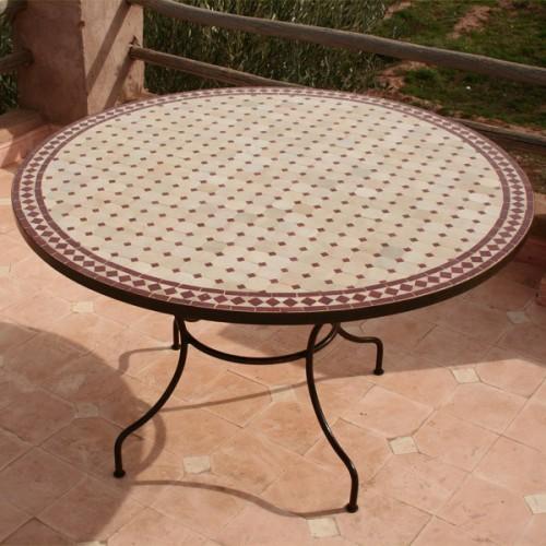Table en zellige ronde d.: 130 Beige rouge