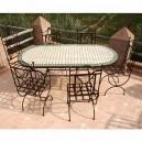 Table en zellige Ovale 180-90 + 6 Chaises Tina