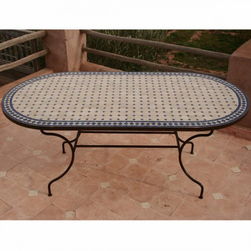 Table en zellige ovale 170/100