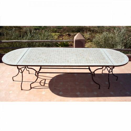 Table en zellige ovale 300/100 (rect 200/100+2consoles)