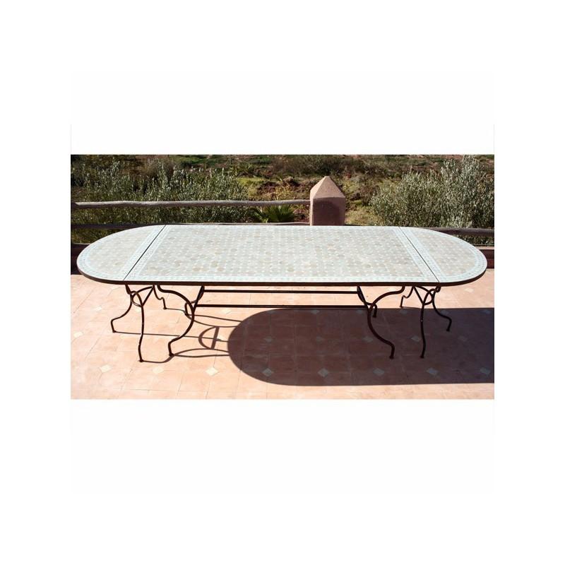 Table en zellige ovale 300/100 beige blanc (rect 200/100+2consoles)