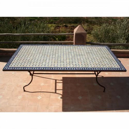 Table en zellige rectangulaire 180/90 sur pied simple fer plein