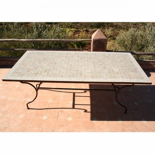 Table en zellige rectangulaire 130/80 sur pied simple fer plein