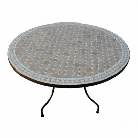Table mosaique zellige ronde pied fer forge table jardin marocaine ...