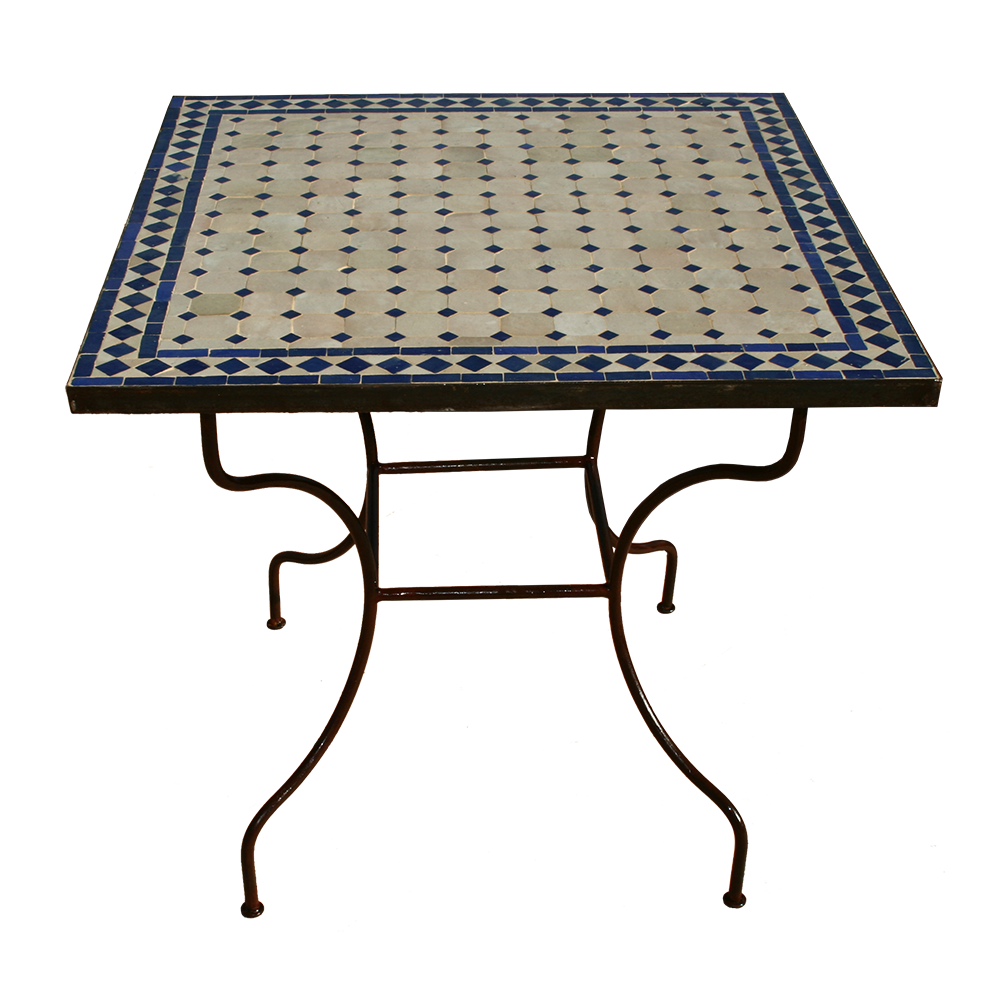 Table mosaique zellige carrée beige bleue