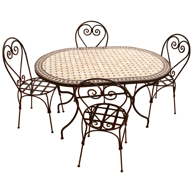 Table mosaique zellige et ses chaises en fer forgé
